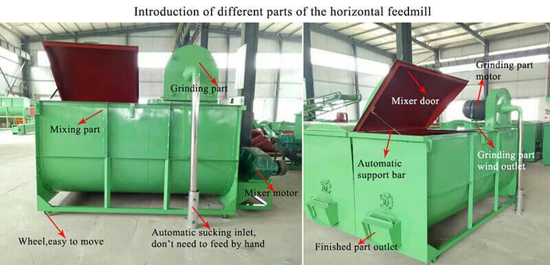 Horizontal feed mill - Feed grinder and mixer machine